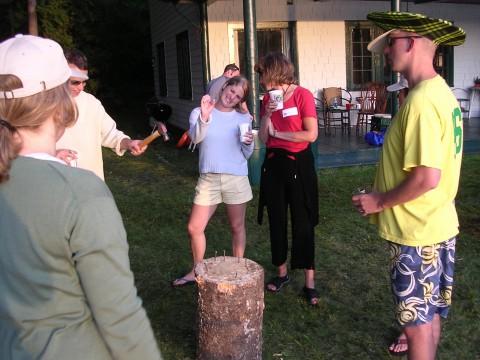 Playing Stump Game Hammer